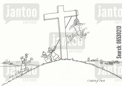 death penalty cartoon humor: The development of Crusifixion.