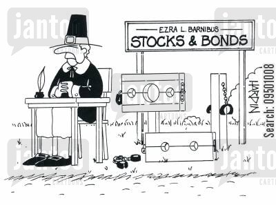 locking cartoon humor: Stocks and Bonds