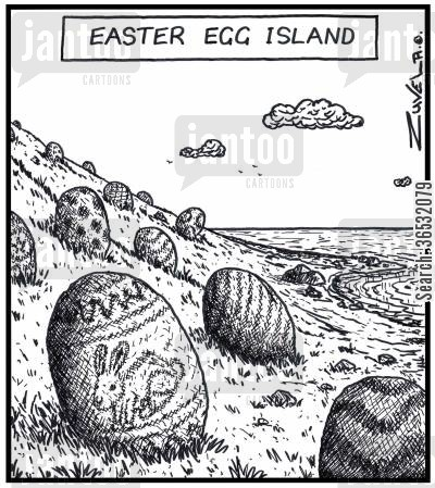 chocolate egg cartoon humor: Easter Egg Island