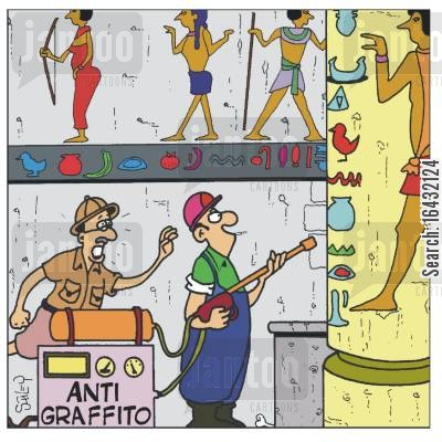 hieroglyphic cartoon humor: 'Anti-Graffito' worker about to erase hieroglyphics.