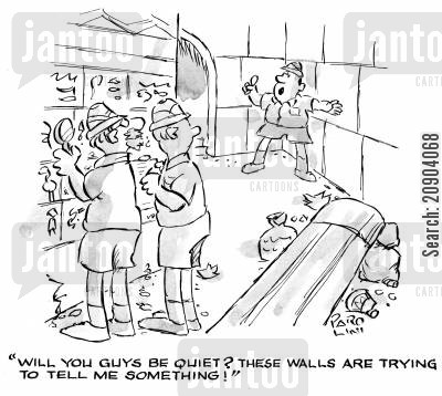 egyptologists cartoon humor: 'Will you guys be quiet? These walls are trying to tell me something!'