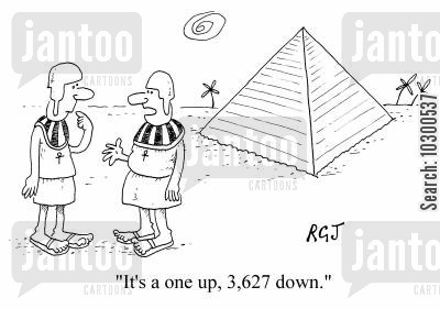 one up cartoon humor: It's a one up, 3,627 down