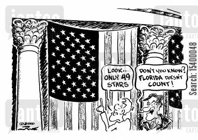 florida cartoon humor: Look only 49 Stars. - Don't you know Florida doesn't count!
