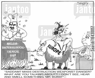 chemical weapons cartoon humor: 'Saddam? Mass Destruction Weapons? Danger?...'