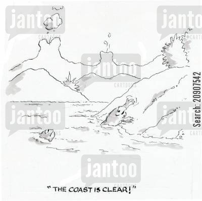 the coast is clear cartoon humor: 'The coast is clear!'