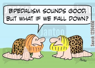 bipedalist cartoon humor: 'Bipedalism sounds good, but what if we fall down?'