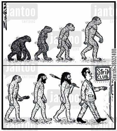 strippers cartoon humor: Man's evolution to the Strip club.