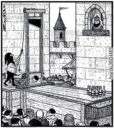 guillotine cartoon humor:  A man about to be executed by Guillotine seeing if his head can knock over some Tenpin Bowling pins