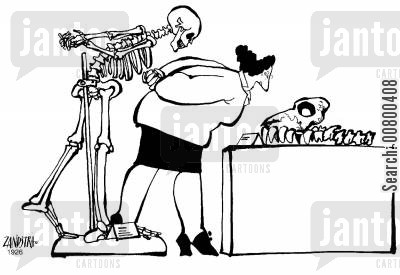 spectators cartoon humor: Skeleton studying a fossil.