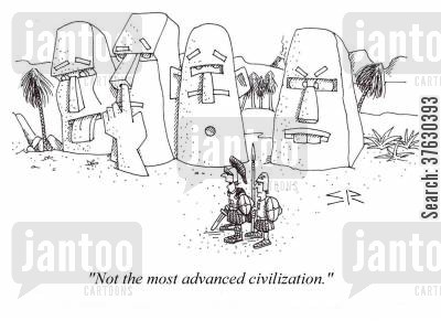 civilization cartoon humor: Roman soldiers come upon comedic statues: 'Not the most advanced civilization.'