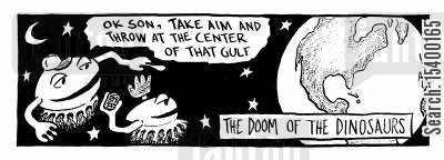 gulf cartoon humor: The Doom Of The Dinosaurs - Take aim and throw at the centre of the gulf.