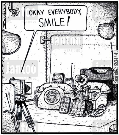 generations cartoon humor: Photographer Phone: 'Okay everybody, SMILE!'