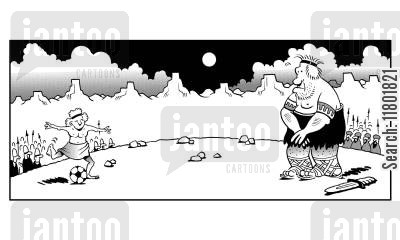 team game cartoon humor: Deciding a war by playing football.
