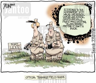 gunman cartoon humor: Fort Hood - Official Terrorist Field Guide.