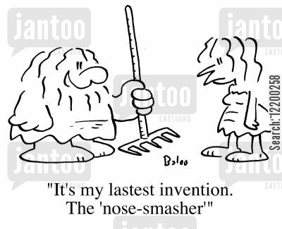 gardening tools cartoon humor: It's my latest invention, the nose-smasher'