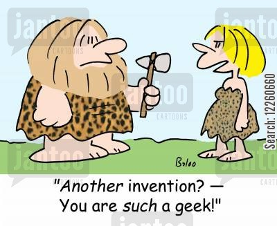 darwinizm cartoon humor: 'Another invention? -- You are SUCH a geek!'