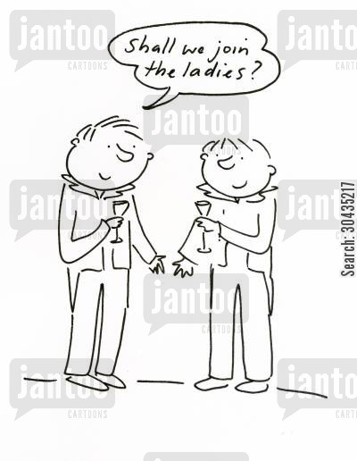 polite society cartoon humor: 'Shall we join the ladies?'