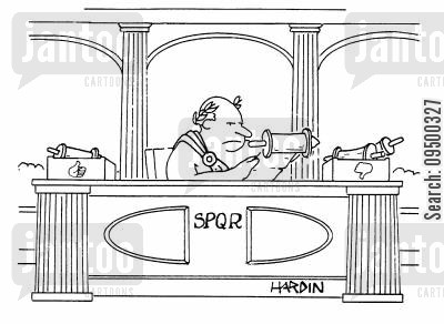 thumbs down cartoon humor: Roman in-tray and out-tray.