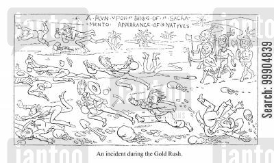 panicked cartoon humor: An incident during the Gold Rush.