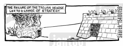 troy cartoon humor: The failure of the Trojan Hearse led to a change in stratergy.