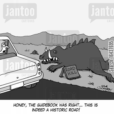 guidebook cartoon humor: 'Honey, the guidebook was right... this is indeed a historic road!'