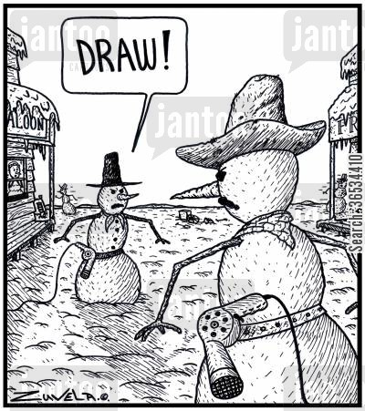 hairdryer cartoon humor: Cowboy Snowman: 'DRAW!' Two Cowboy Snowmen about to fight it out using their hot air Hairdryers