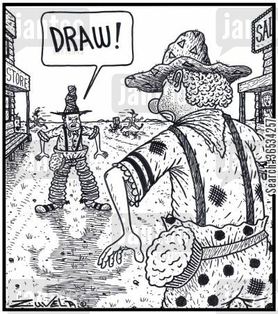 pie in the face cartoon humor: Clown Cowboy:'DRAW!'