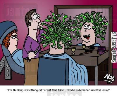 salons cartoon humor: 'I am thinking something different this time... maybe a Jennifer Aniston look?'