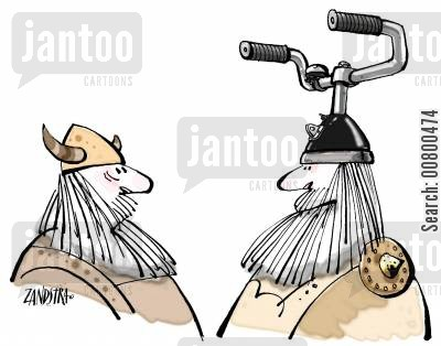comparison cartoon humor: Viking with bike handlebars on helmet.
