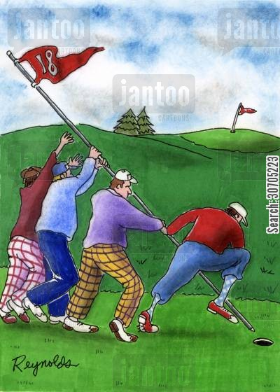 raising the flag on iwo jima cartoon humor: Golfers forming the raising the flag on Iwo Jima.