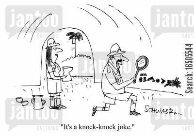 indiana jones cartoon humor: 'It's a knock-knock joke.'