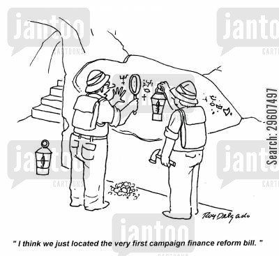 historian cartoon humor: 'I think we just located the very first campaign finance reform bill.'