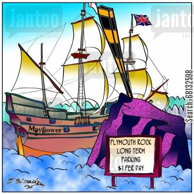 puritan cartoon humor: Plymouth Rock Long Term Parking, $1 per Day.