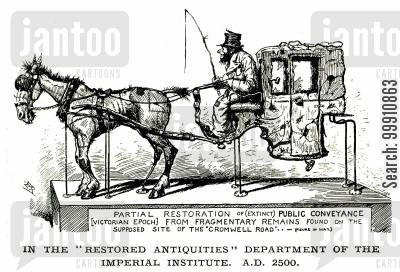 public transport cartoon humor: Restored antique carriage in A.D. 2500