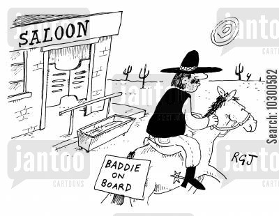 horse back cartoon humor: 'Baddie on board'
