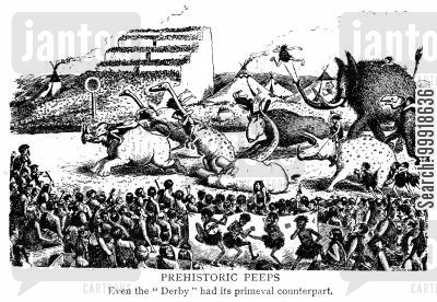 derby race cartoon humor: Prehistoric Peeps: Even the 'Derby' had its primeval counterpart.