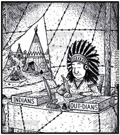 out tray cartoon humor: The North American Indian version of In & Out trays