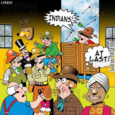 apaches cartoon humor: Indians: 'At last.'