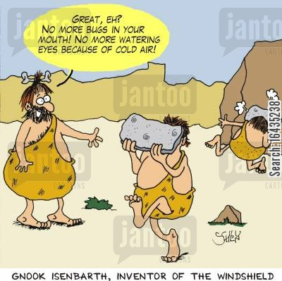 invention cartoon humor: Gnook Isenbarth, inventor of the windshield.
