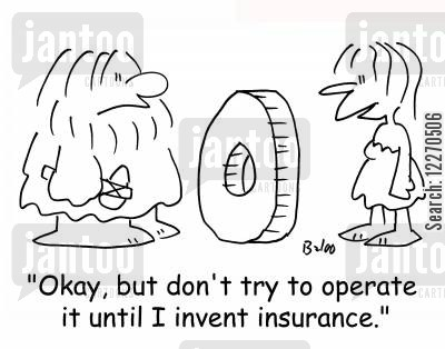 cavemen cartoon humor: 'Okay, but don't try to operate it until I invent insurance.'