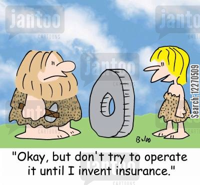 cavewoman cartoon humor: 'Okay, but don't try to operate it until I invent insurance.'