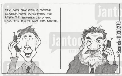 poll numbers cartoon humor: 'You say you are a world leader who is getting no respect? Brother, did you call the right guy for advice.'
