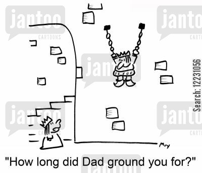 how cartoon humor: 'How long did Dad ground you for?'