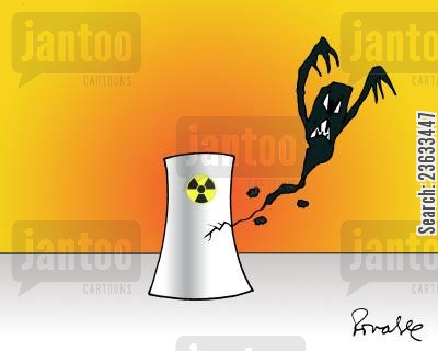nuclear energy cartoon humor: Nuclear Leak.