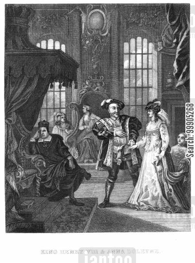 allan ramsay cartoon humor: King Henry VIII and Anna Boleyne.