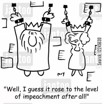 thrones cartoon humor: 'Well, I guess it rose to the level of impeachment after all!'