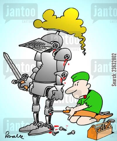 suit of armor cartoon humor: Armour Being Screwed On.