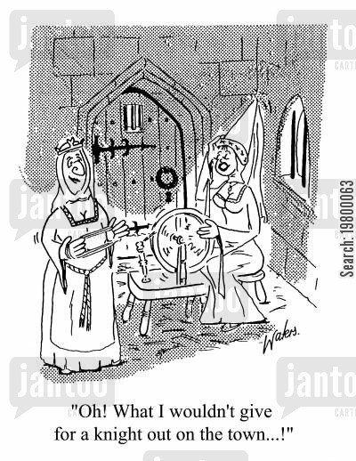 clubbers cartoon humor: Oh what I wouldn't give for a knight out on the town.