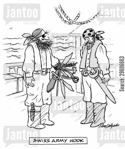pirate hooks cartoon humor: Swiss Army Hook.