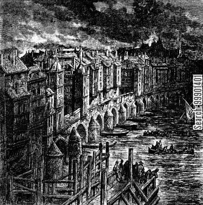 old london bridge cartoon humor: London Bridge before Clearance of Buildings